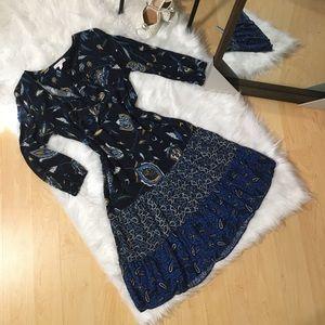 Blue patchwork boho dress